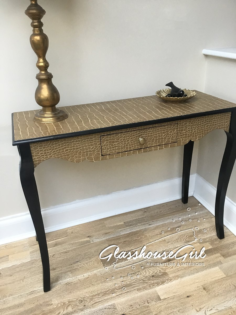 Black And Gold Croc Console Table Narrow Desk