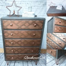 Grey & Copper Patina Chest of Drawers