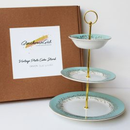 Vintage Cake Stand – Blue & Gold Lillies