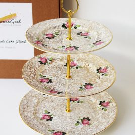 Vintage Cake Stand Pink Roses & Gold Chintz