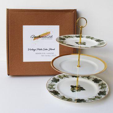 Vintage Cake Stand Green Mathon Hops & Gold Royal Worcester