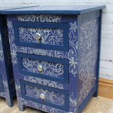 Blue & Silver Glitter Tattoo Bedside Tables