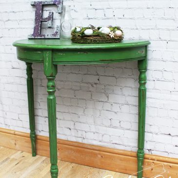 Green French Farmhouse Distressed Demi Lune Table