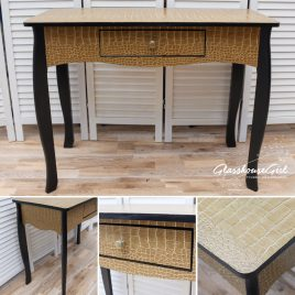 Black and Gold Croc Console Table / Narrow Desk