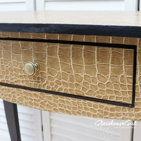 Glasshouse Girl Black and Gold Croc Console Table