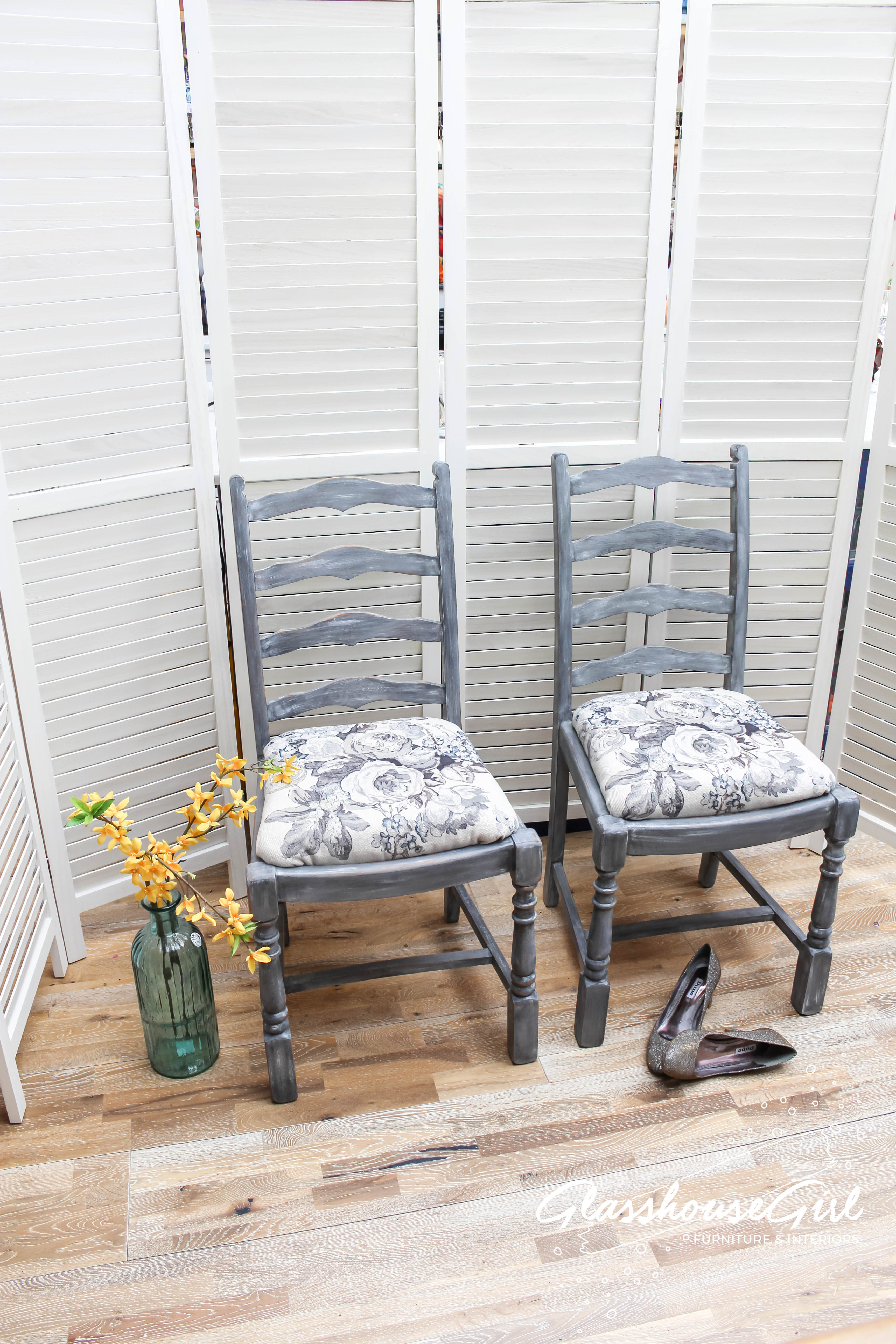 Grey Roses Faded Elegance Oak Chairs Glasshouse Girl