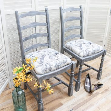 Grey Roses Faded Elegance Oak Chairs