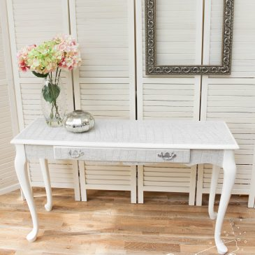 Grey and White Mock Croc Console Table / Narrow Desk