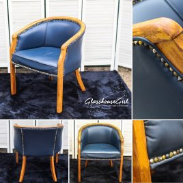 'Stud U Love' Navy Leather Tub Chairs