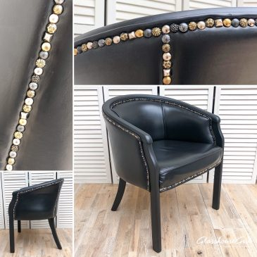 'Stud U Love' Black Leather Tub Chairs