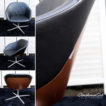Walter Knoll Copper & Chrome Black Leather Swivel Chair