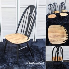 Black Ercol Swan Highback Dining Chairs