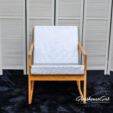 'Off My Rocker' Silver Leatherette Rocking Chair