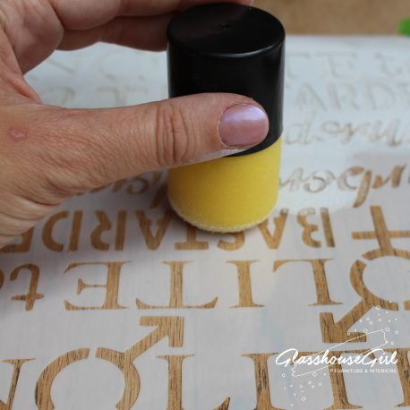 Push the pouncer down onto the positioned stencil at 90 degrees. Repeat until you achieve the desired level of coverage.