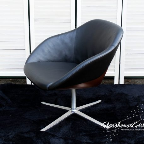 Walter Knoll Copper Chrome Black Leather Swivel Chair