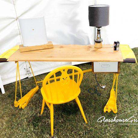 Glasshouse-Girl-Yellow-Ercol-Fleur-de-Lys-Chair-1-2