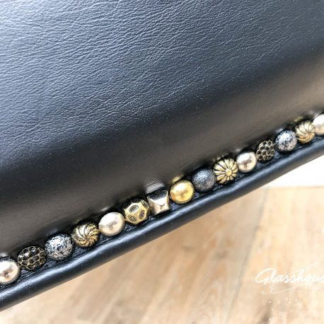 Black Leather Decorative Studded Tub Chairs