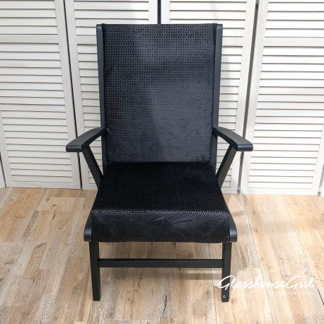 Bristow Chanel Easy Chair – Black Patterned Velvet with Brass Go