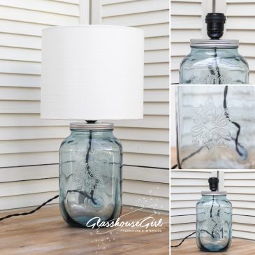 Small Blue Square Drinks Dispenser Lamp