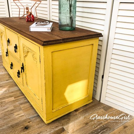 Glasshouse Girl Canary Yellow Low Farmhouse Sideboard