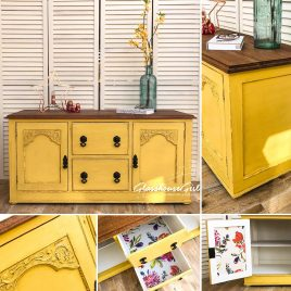 Canary Yellow Vintage Farmhouse Style Low Sideboard