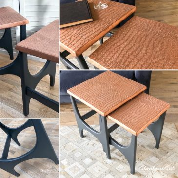Copper & Dark Grey Croc Wine Table Duo