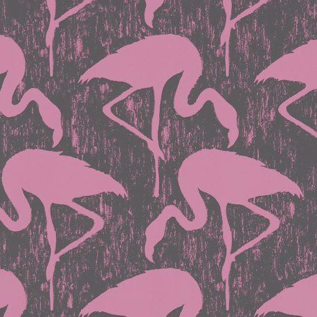 Sanderson Vintage II Flamingos in Charcoal/Pink