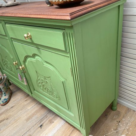 Apple Green Painted  Rustic Farmhouse Vintage Oak Sideboard