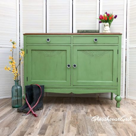 Apple Green Rustic Farmhouse Sideboard
