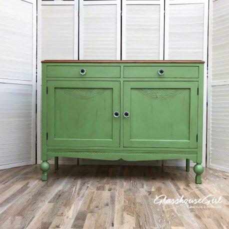 Apple Green Rustic Farmhouse Sideboard