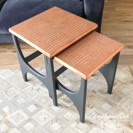 Copper Croc and Grey Wine Tables