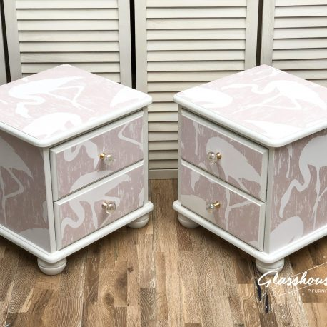 Pink & White Flamingo Pine Bedside Cabinets with Iridescent Glas