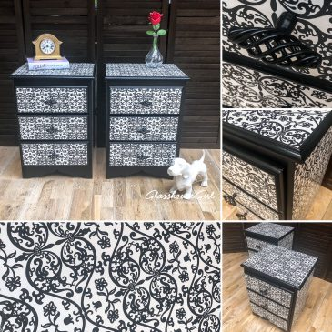 Black & White Monochrome Floral Patterned Bedside Tables