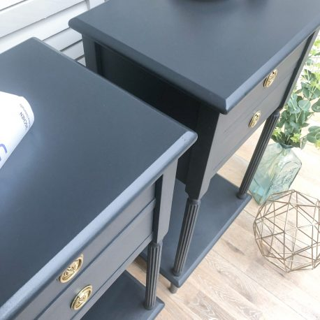 Ash Grey Colonial Style Tall Bedside Tables