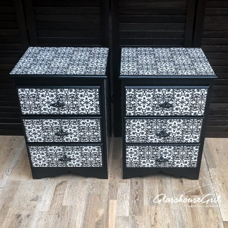glasshouse-girl-black-white-floral-monochrome-pattern-solid-pine-bedside-cabinets-2
