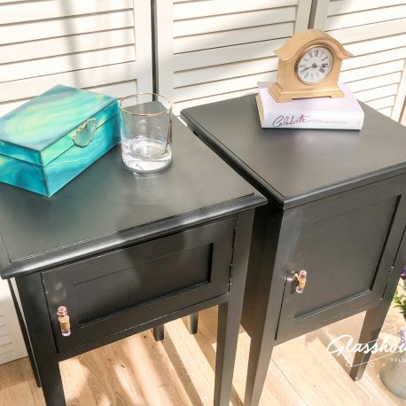 Pink 'Snakebite in Black' Bed Side Table Cabinets