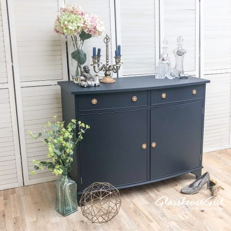 Small Navy Blue Sideboard Cabinet Gold Wreath Handles Regency St