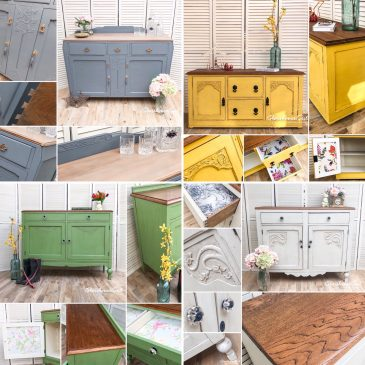 Vintage Farmhouse Country Oak Hand Painted Sideboards