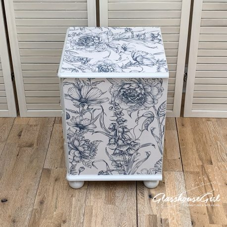 Floral Blue White Silver Solid Pine Painted Upcycled Bedside Tab