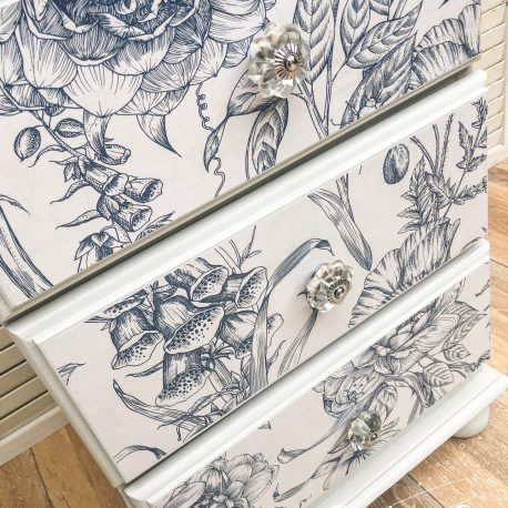 Floral Blue and White Solid Pine Three Drawer Bedside Table