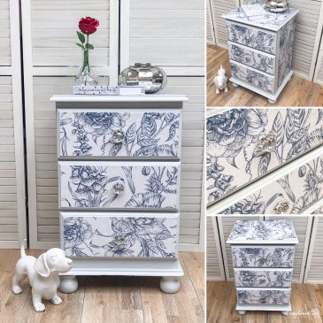 Floral Blue & White English Countryside Bedside Cabinet