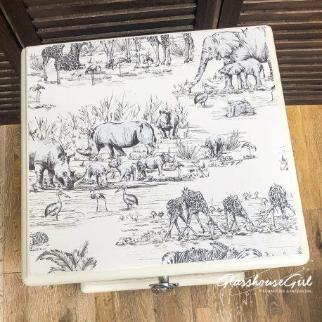 Ivory Cream Safari Elephant Giraffe Hippo Zebra Solid Pine Bedsi