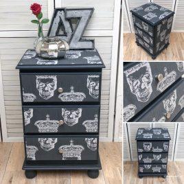 King Skull Charcoal & Silver Bedside Cabinet