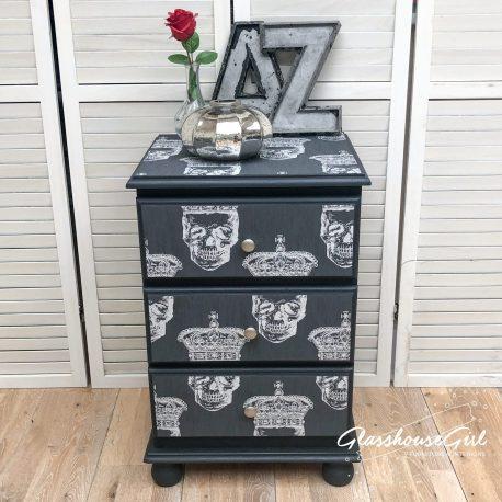 Dark Grey Black King Skull Silver Three Drawer Pine Bedside Cabi