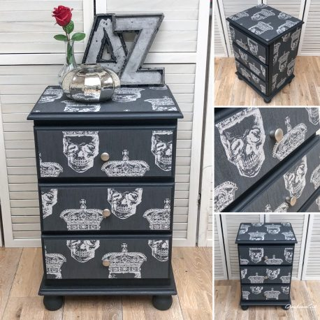 glasshouse-girl-king-skull-grey-black-silver-solid-pine-three-drawer-bedside-table