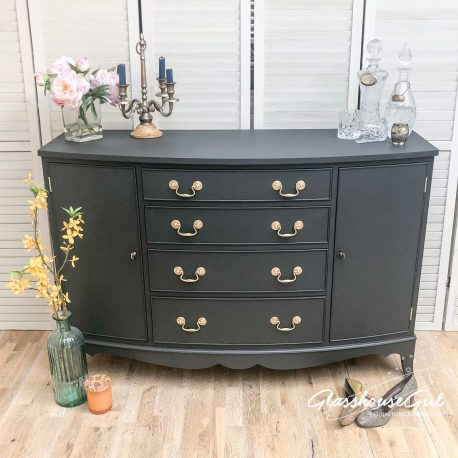Small Dark Grey Regency Style Bow Front Sideboard